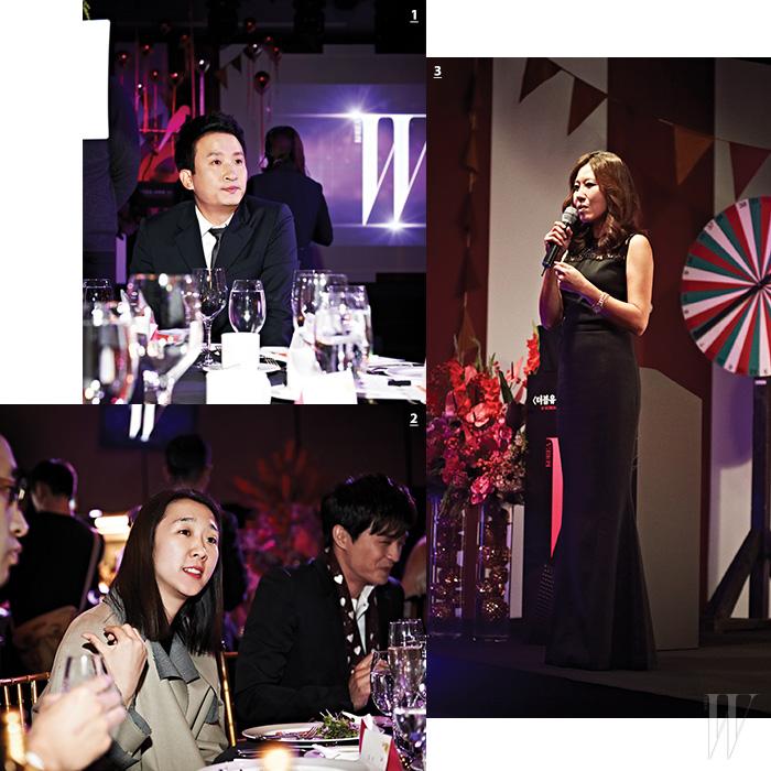 1. 사회를 맡은 방송인 서경석. 2. 더 스튜디오K 디자이너 홍혜진 대표. 3. 유방암 캠페인의 의미를 설명하고 있는 더블유 코리아 편집장 이혜주.