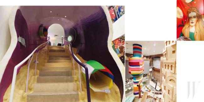 하나의 아트 작품 같은 도버 스트리트 마켓 뉴욕의 매장 전경. 색색의 구조물과 시멘트, 벽돌, 나무의 조화가 멋지다.
