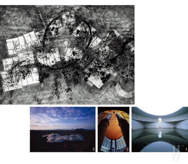 1. 포도호텔을 위한 스케치 2. 포도호텔 전경 3. 핀크스 퍼블릭 골프 클럽 하우스 내부 4. 물 박물관
