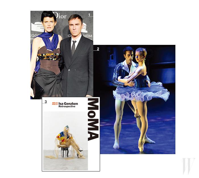 1. 2013 구겐하임 인터내셔널 갈라의 메인 스폰서가 된 디올의 라프 시몬스와 갈라 파티에 참석한 모델 스텔라 테넌트. 2. 페라가모의 WACPA 오프닝 갈라 행사의 기념 공연. 3. 피비 파일로가 후원하는 아티스트 이사 겐즈켄의 전시.