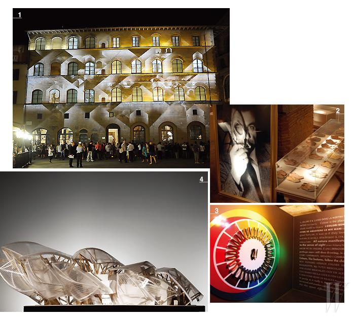 1. 피렌체 시뇨리아 광장에 자리 잡은 성대한 구찌 박물관. 2, 3 . 피렌체의 스피니 페로니 궁전 내부에 위치한 페라가모 박물관 내부 모습. 4. 파리 볼로뉴 숲 안에 건립되고 있는 루이 비통의 근현대미술관의 웅장한 도면.