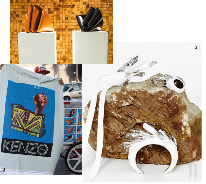 1. 크리스찬 루부탱 부티크에 설치된 아티스트 카멜로 테데스키의 가죽 작품은 아름다운 선율적 곡선이 돋보인다. 2. 전위적이고 아방가르드한 메종 마틴 마르지엘라의 주얼리 컬렉션 '크리스털락타이트'. 3. <토일렛 페이퍼>와의 협업으로 탄생한 겐조의 2014 S/S 광고 비주얼을 처음으로 공개한 마이애미 아트 바젤 비치.
