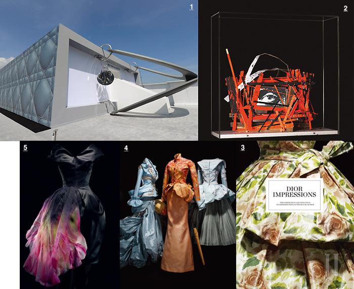 1. 하우스의 아이콘인 디올 레이디에 대한 예술가들의 헌사를 보여준 전시 <Dior As Seen By>. 2. 재생 목재에 형광색 페인트를 칠한 작업을 주로 선보이는 아티스트 아르네 퀸제가 재해석한 레이디 디올. 3. 인상주의 사조와 깊은 연대를 보여주는 <임프레션 디올> 전시. 꽃무늬 드레스는 1956년 발표된 디올 쿠튀르 드레스. 4. <임프레션 디올> 전시에 소개된 디올의 2007 S/S 쿠튀르 피스. 5. 아름답게 채색된 드레스는 존 갈리아노가 디자인한 디올의 2010 F/W 쿠튀르 피스.