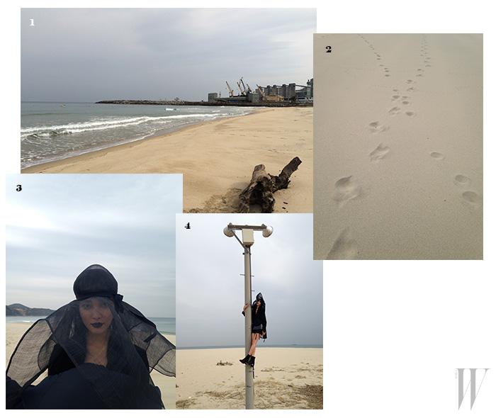 1,2. 거칠고 외로운 느낌으로 가득했던 옥계 해수욕장. 3. 쓸쓸한 해변의 여인으로 분한 모델 곽지영. 4. 높은 전신주에 올라가 달라는 에디터의 요청도 쿨하게 수락한 그녀. 이렇게 멋진 컷을 안겨줬다.
