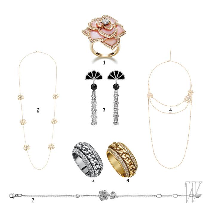 1. 핑크 오팔에 다이아몬드가 세팅된 피아제 로즈 패션 반지. 2, 4. 길게 드리우는 체인이 우아한 핑크 골드 소재의 피아제 로즈 컬렉션 목걸이. 3. 애나 켄드릭이 착용한 부채 모티프의 라임라이트 쿠튀르 프레셔스 귀고리. 다이아몬드가 세팅된 화이트 골드와 검정 오닉스, 스피넬 소재와 어우러졌다. 5, 6. 화이트와 옐로 및 핑크 골드 버전으로 선보이는 피아제 포제션 컬렉션의 클래식 체인 반지. 7. 단아한 여성미가 느껴지는 피아제 로즈 팔찌.