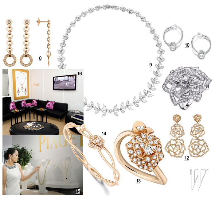 8, 10. 조형미가 돋보이는 피아제 포제션 컬렉션의 귀고리와 팔찌. 9. 크리스틴 벨이 착용한 다이아몬드 세팅이 화려한 피아제 로즈 패션 컬렉션 목걸이. 11. 공리가 착용한 화이트 골드 소재의 피아제 로즈 반지. 12. 핑크 골드에 다이아몬드가 세팅된 피아제 로즈 귀고리. 13, 14. 탐스러운 장미를 입체적으로 표현한 피아제 로즈 컬렉션 반지와 팔찌. 15, 16. 피아제는 인디펜던트 스피릿 어워드가 열린 산타모니카 해변의 텐트 옆에 피아제의 단독 텐트를 마련해 눈부신 하이 주얼리를 직접 보고 만끽할 수 있는 즐거움을 제공했다.