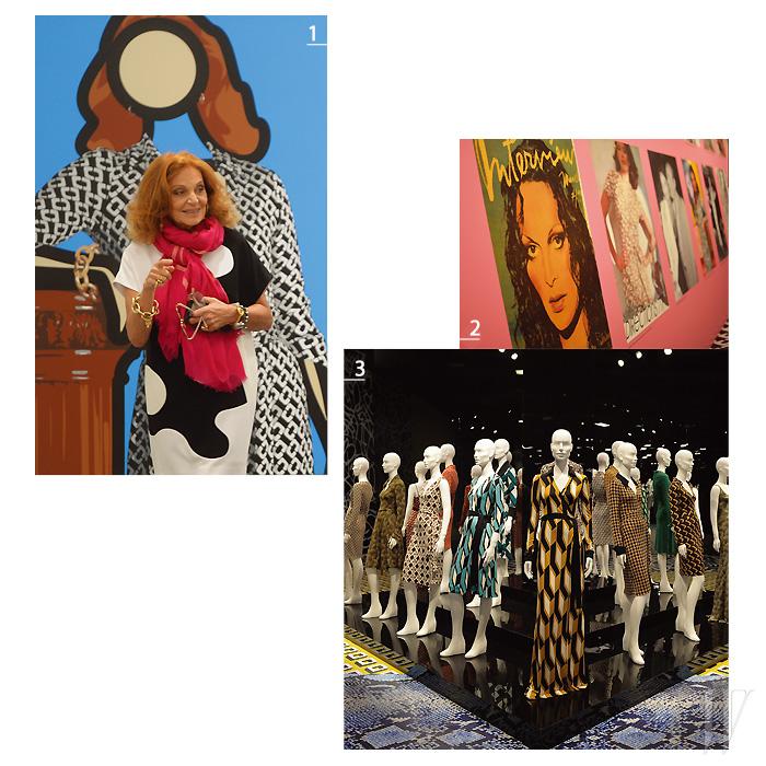 1. 줄리안 오피 가 재해석한 DVF의 랩드레스 작품 앞에서 포즈를 취한 다이앤 폰 퍼스텐버그. 2. 랩 드레스의 역사를 한눈에 볼 수 있는 전시 공간 내부의 포토월. 3. LA의 윌셔 메이 컴퍼니 빌딩에서 열린 랩 드레스 40주년 전시를 장식한 DVF의 아카이브 피스들.