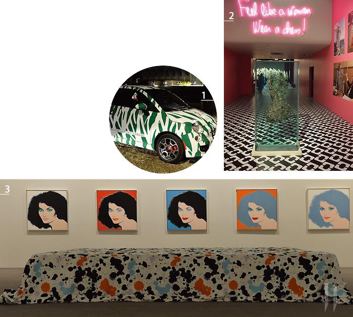 1. 랩 드레스 40주년을 기념하는 전시 를 홍보하기 위해  제작된 DVF의 프린트로 뒤덮인 차량. 2. 랩 드레스의 빈티지 패턴을 유리 조각으로 매달아놓은 듯한 작품을 제작한 아티스트 더스틴 옐린. 3. 앤디 워홀이 제작한 다이앤 폰 퍼스텐버그의 추상화.