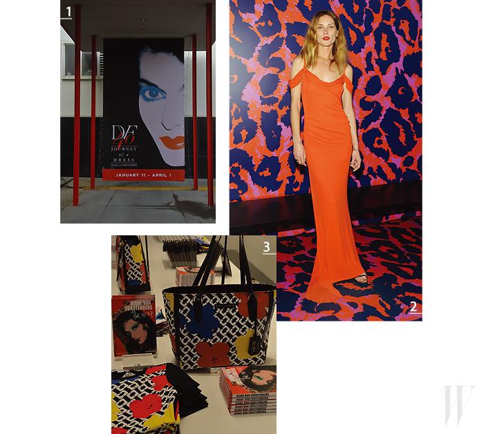 1. 전시회 오프닝에 참석한 모델 에린 왓슨. 2. LA 거리 곳곳에 설치된  전시 포스터. 3. DVF.com과 매장에서 독점적으로 판매될 앤디 워홀과의 컬래버레이션으로 제작된 리미티드 에디션.