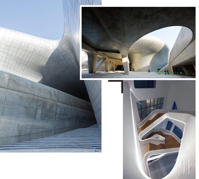자하 하디드가 설계한 동대문 디자인 플라자(DDP)의 다양한 얼굴들. 전체가 곡면으로 이루어진 이 건축물의 시공 완성도에 대한 우려가 많았지만 하디드는 '한국의 전문가 파트너들의 재능과 열정 덕분에 수많은 새로운 기준을 세우며' 성공할 수 있었다고 언급했다. 자신의 주특기인 DDP와 같은 곡선형 디자인에 대해서는 21세기 건축으로 나아가는 방향이며, 마치 자연 경관의 곡선과 형태와 같은 아름다움과 안정감을 건축에서 구현하는 일이라고 말한다.