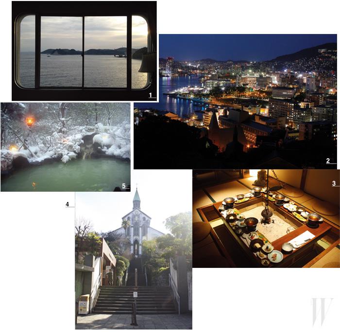 1. 호텔 창 밖으로 보이는 히라도의 아침. 2. 나가사키 시의 야경. 3. 히라도의 명소, 에비스테이. 4. 유럽의 영향이 느껴지는 오우라 성당. 5. 강산성의 운젠 온천.