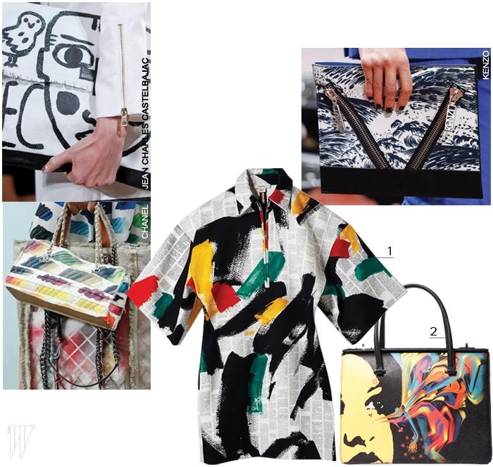 1. 한폭의 추상화를 보는 듯한 페인팅 프린트의 미니 드레스는 셀린 제품. 가격 미정.2. 아티스트의 작품을 그대로 가방에 옮겨놓은 토트백은 프라다 제품. 5백만원대.