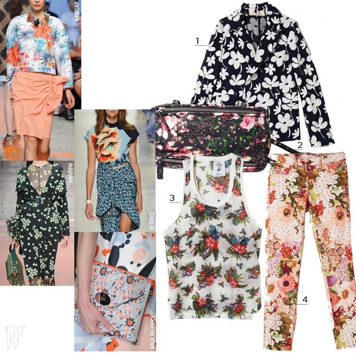 1. 면 소재의 꽃무늬 재킷은 마르니 제품. 1백만원대. 2. 화려한 꽃무늬 의 판도라 백은 지방시 제품. 1백65만원. 3. 하와이언 풍의 메시 탱크톱은 스티브 J & 요니 P 제품. 13만8천원. 4. 목가적인 꽃무늬의 데님 팬츠는 토리 버치 제품. 37만8천원.