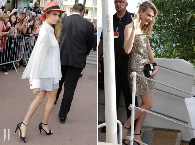 카라 델레바인캐주얼한 스타일과 드레스 업한 모습을 모두 선보인 카라. 넉넉한 핏의 화이트 셔츠에 쇼츠, 상큼한 레드 오렌지빛 모자를 쓴 개구쟁이에서 골드 컬러의 드레스를 입은 도도한 숙녀로 변신했다. 라거펠트의 총애를 받는 모델답게 그녀가 입은 의상 전부 샤넬(Chanel).