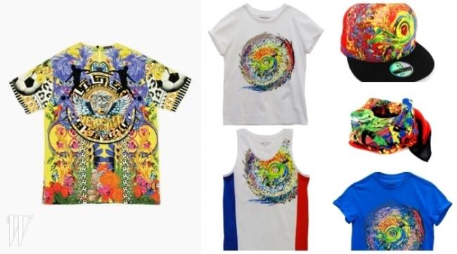 (왼쪽)베르사체의 화려한 월드컵 기념 티셔츠. (오른쪽) 디자이너 이상봉이 선보이는 월드컵 에디션.