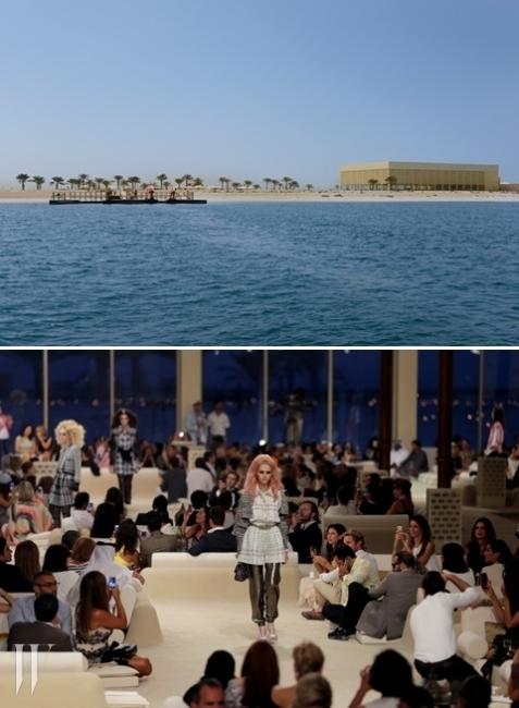 두바이의 한 섬에서 열린 샤넬 2014/15 크루즈 컬렉션. 샤넬은 2개월에 걸쳐 척박한 모래밭 위에 이국적인 패션쇼장을 탄생시켰다.