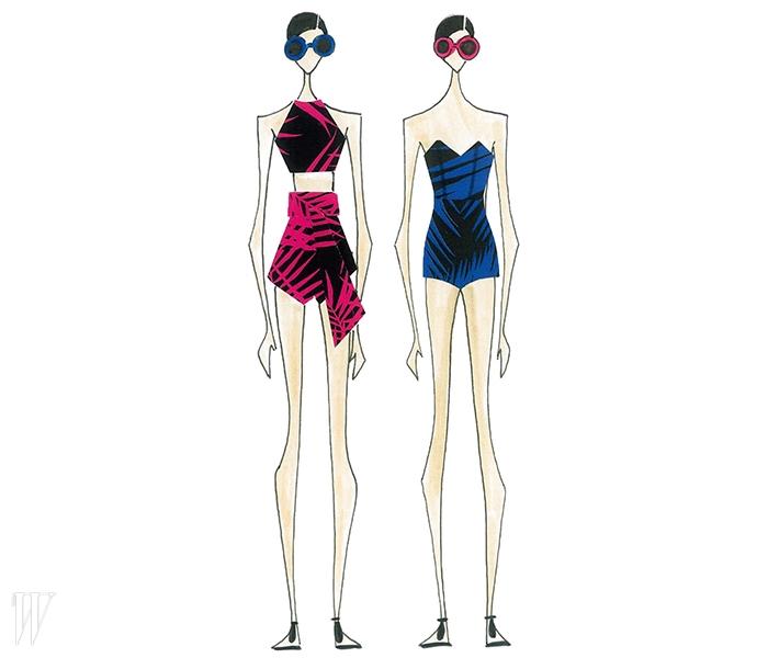 알레시아 니에드지에우스키가 스윔웨어 브랜드인 오스클렌과의 협업 프로젝트를 위해 디자인한 감각적인 수영복들.