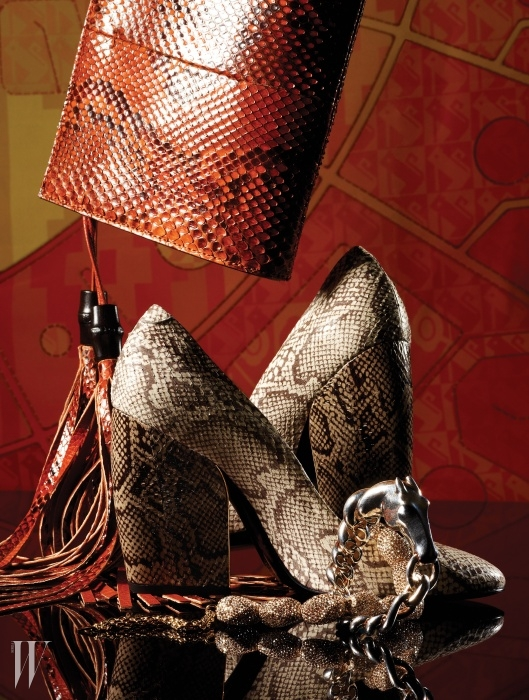가죽 프린지 장식이 경쾌한 누보(Nouveau) 클러치는 Gucci, 야생적인 느낌의 파이톤 가죽과 우아한 실루엣의 매치가 돋보이는 펌프스는 Pierre Hardy by Shinsegae Shoe Collection, 말을 모티프로 한 스털링 실버 소재의 팔찌는 Hermes, 금빛 조약돌을 연상시키는 화려한 스와로브스키 크리스털 장식 목걸이는 Atelier Swarovski 제품. 배경으로 연출한 프린트 스카프는 Louis Vuitton 제품.