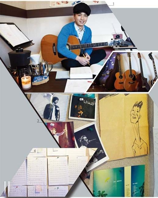 1. 컴퓨터 대신 악보와 연필이 놓인 뮤지션 이지형의 책상. 2. 이지형은 물론 데이브레이크의 이원석, 10센치 권정렬의 기타가 나란히 놓여 있다. 3. 공연 사진, 앨범 커버 등으로 장식된 보드. 4. 작업실 한쪽 벽을 꽉 채운 악보들.