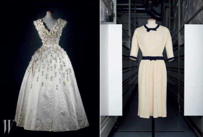 (왼쪽부터) 크리스챤 디올(Christian Dior)의 이브닝 드레스와 섬세한 주름이 돋보이는 샤넬(Chanel)의 드레스.