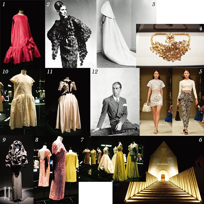 1. 풍성한 볼륨감의 베이비돌 드레스, 1958년 작품. 2. 나뭇잎을 표현한 드레스, 1950년 작품. 3. 1967년에 선보인 독창적인 헤드 드레스. 4. 아카이브 전시실을 환하게 빛내준 크리스토발 발렌시아가의 코스튬 주얼리. 5.이번 행사를 위해 제작된 차이나 에디션. 6. 차이나 에디션 패션쇼가 펼쳐진 중국 유화원 내부의 교회. 7. 화려한 자태를 뽐낸 이브닝드레스 섹션. 8. 뒤태를 강조한 화려한 칵테일 드레스. 9. 조형적인 디자인의 케이프 슈, 1968년 작품. 10. 볼륨감이 돋보이는 화이트 벌룬드레스. 11. 새틴과 실크가 조화를 이룬 '앙팡뜨' 드레스,1939년 작품. 12. 젊은 시절의 크리스토발 발렌시아가.