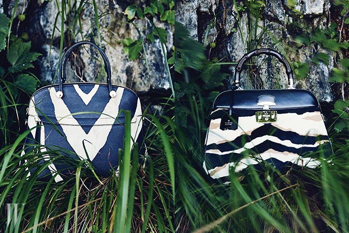 왼쪽│얼룩말 패턴을 크게 프린트한 토트백은 훌라 제품. 89만원.오른쪽│버클과 대나무 손잡이, 얼룩말 패턴의 조화가 멋진 토트백은 구찌 제품. 3백71만원.