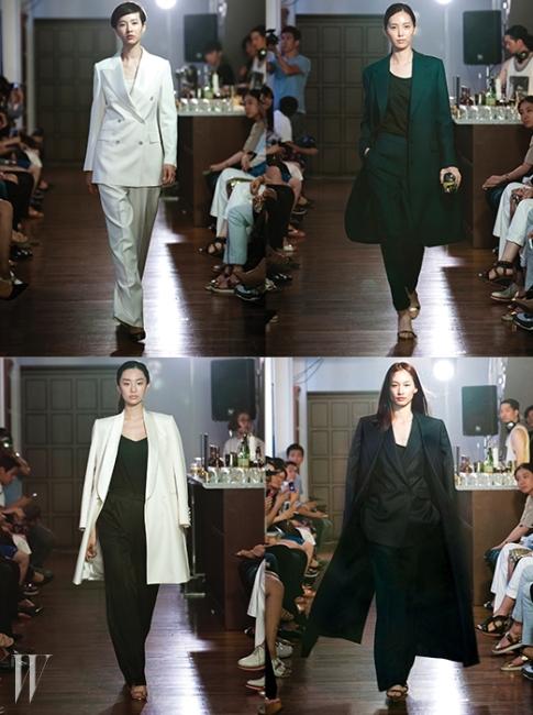 김서룡은 첫 번째 여성복 컬렉션에서 자신의 장기인 수트를 중심으로 고혹적인 매스큘린룩을 선보였다. 우아하게 펄럭이는 맥시 코트와 활주로처럼 쭉 뻗은 실루엣의 수트의 변주는 보는 이를 매혹하기에 충분하다.