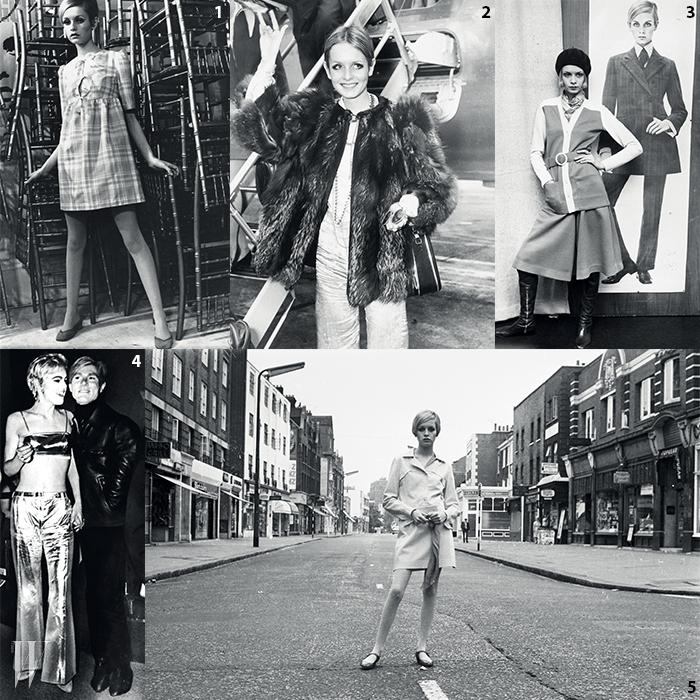 1,2,3,5. 런던 킹스로드부터 일본행 비행기까지, 전 세계를 종횡무진하며 미니 드레스와 풍성한 퍼 코트, 롱 부츠 등으로 일컬어지는 60년대 룩의 전형을 보여준 모델 트위기.4. 앤디 워홀과 60년대 그의 뮤즈로 이름을 높인 에디 세즈윅.