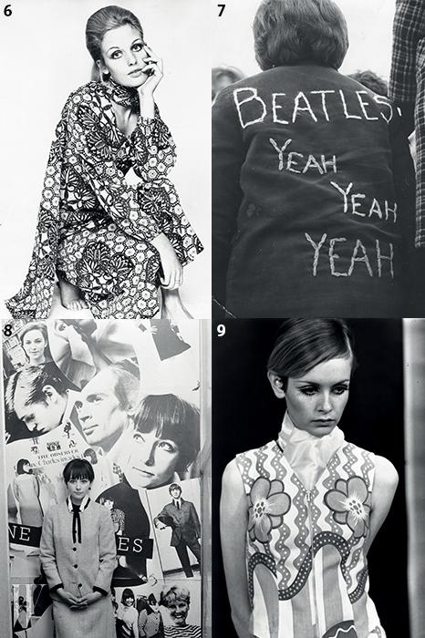 6. 60년대 스타일의 정수를 담은 화려한 리버티 프린트의 셔츠 드레스와 스카프. 7. 60년대 팝 문화를 휩쓴 비틀스의 영향을 보여주는 룩. 8. 60년대 모즈 룩을 하이패션에 대입한 마리 퀀트 등 다양한 60년대 비주얼로 채워진 보드. 그 앞에 선 인물은 마리 퀀트와 함께 일했던 디자이너 캐롤린 찰스. 9.그래픽적인 패턴의 미니 드레스를 입은 트위기.