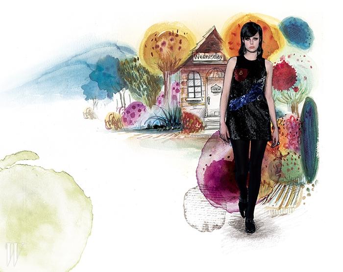 마침내 마녀로부터해방된 소녀의미니 드레스와 메리제인 슈즈는생로랑 by 에디 슬리먼.
