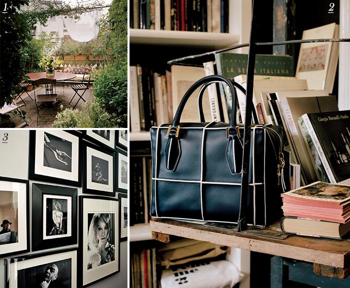 1. 식물로 가득한 테라스와 개조된 19세기가구. 2. 토즈의 디큐브(D-Cube)백.3. 복도에 걸려 있는 흑백 사진들.