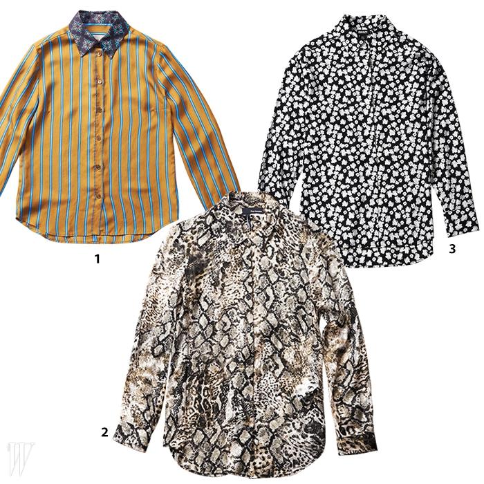 1. 화려한 패턴과색감이 돋보이는실크 소재 셔츠는폴 스미스 제품. 89만원.2. 레오퍼드의 질감을생생하게 표현한시폰 블라우스는쿠플스 제품. 36만8천원.3. 자잘한 꽃무늬 패턴이멋진 넉넉한실루엣의 셔츠는DKNY 제품. 51만5천원.