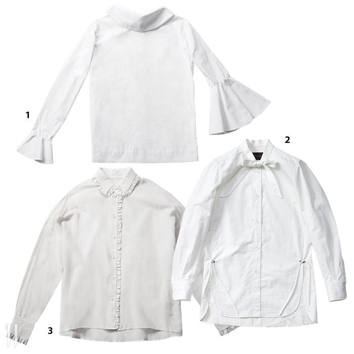 1. 큼직한 러플 장식이특징인 블라우스는유돈 초이 제품.50만원대.2. 허리 부분의 끈으로볼륨감을조절할 수 있는리본 셔츠는코치 제품. 59만원.3. 작은 러플로포인트를 준실크 블라우스는생로랑 제품.1백89만원.
