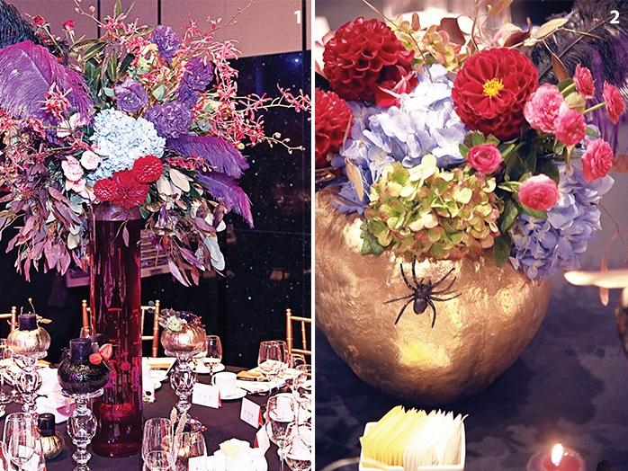 1. 파티장을 한결 화려하게만들어주는아름다운 꽃 장식은헬레나 플라워 작품. 2.거미 장식으로핼러윈 무드를 물씬 풍긴헬레나 플라워의 꽃 장식.