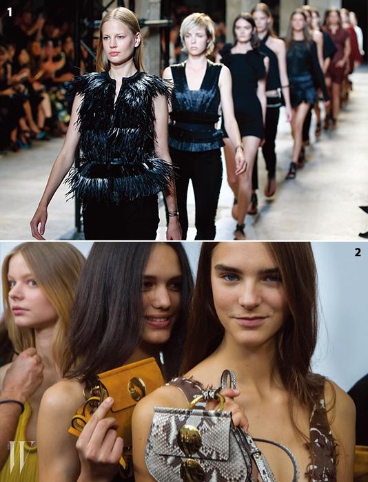 1.모델 엘리자베스 엄을비롯해 에디 캠벨, 샘롤린슨 등 톱모델들이 총출동한이자벨 마랑 컬렉션.2.클로에의초미니 백을 든모델들의사랑스러운 미소.