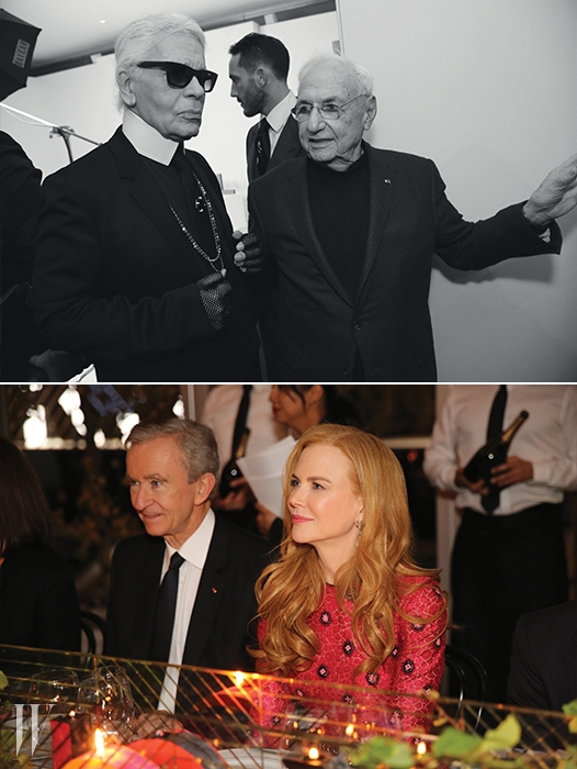 위 |각각 패션과 건축계의 살아 있는 전설.'모노그램을 기념하며' 프로젝트에 참여한칼 라거펠트와 프랭크 게리가행사장에서 만났다.아래 |LVMH의 회장 베르나르 아르노와 니콜 키드먼.