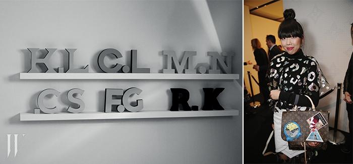 왼쪽 |이번 프로젝트에 참여한 크리에이터 6명의 이니셜.오른쪽 |이번 협업 프로젝트에서신디 셔먼이 디자인한 카메라 백을 든패션 블로거 수지 버블.