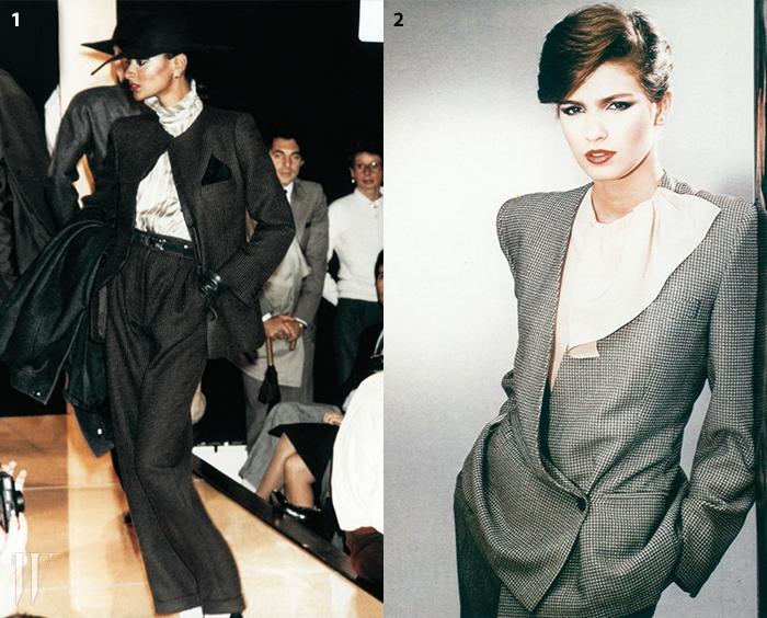 1. 몸을 휘감는 소재가 일품인 수트. 1981 F/W.2. 알도 팔라이가 촬영한 1980 S/S 컬렉션.