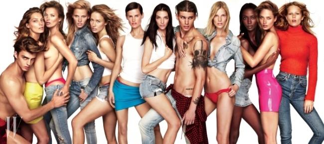 단의 허리에 두른 붉은색 재킷은 Isabel Marant, 다리아가 입은 노란색 미니스커트는 Versace, 귀고리는 모델 소장품. 케이트가입은 분홍색 비키니 하의는 Charlie by Matthew Zink, 데님 팬츠는 Guess, 귀고리는 모델 소장품. 라라가 입은 데님 셔츠는 Diesel,데님 팬츠는 Iro, 라쿠엘이 입은 탱크톱은 Calvin Klein Underwear, 붉은색 비키니 하의는 Lisa Marie Fernandez, 데님 쇼츠는 Levi's,사스키아가 입은 흰색 탱크톱은 Calvin Klein Underwear, 비키니 하의는 Orlebar Brown, 푸른색 미니스커트는 Versace, 마리아카를라가입은 티셔츠는 Vince, 데님 쇼츠는 Hudson Jeans, 스티브의 허리에 두른 체크무늬 셔츠 드레스는 Fred Perry, 데님 팬츠는 Calvin KleinJeans, 수비가 입은 데님 셔츠는 Levi's, 붉은색 비키니 하의는 Charlie by Matthew Zink, 라일리가 입은 데님 스커트는 Levi's, 카르멘이입은 분홍색 스커트는 American Apparel, 아나가 입은 터틀넥 스웨터는 H&M Studio, 데님 팬츠는 Saint Laurent by Hedi Slimane 제품.