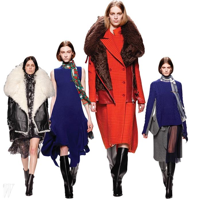 바이커 재킷과 니트,코트 같은 클래식한아이템의 변주로구성된 2014 F/W사카이 컬렉션.
