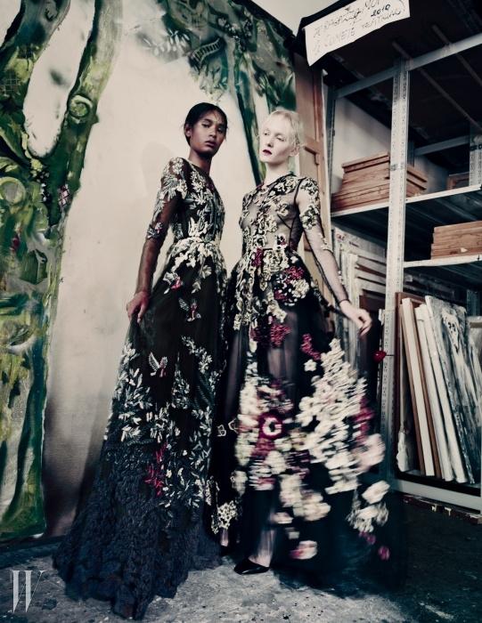 아티스트 지오세타 피오로니(Giosetta Fioroni)의작품에서 영감을 받은 발렌티노의 드레스.