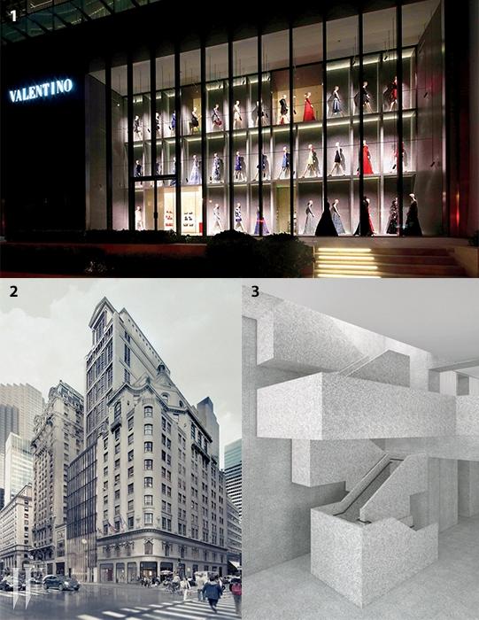 1. 데이비드 치퍼필드가설계한 상하이 발렌티노 스토어.2,3. 뉴욕 5번가발렌티노 플래그십 스토어의 렌더링.