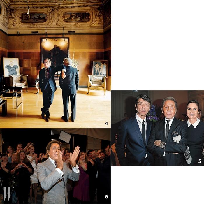 4. 2004년 로마 팔라초미냐넬리에서 발렌티노 가라바니와지안카를로 지아메티.5. 2013년 파리 발렌티노 가을/ 겨울런웨이 쇼에서 모인 피치올리,미스터 발렌티노, 치우리.6. 파리에서 마지막 쇼를마친 후의 가라바니,