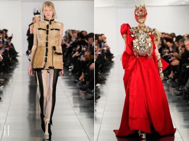 이번 쿠튀르 컬렉션의 오프닝 룩(왼쪽)과 피날레(오른쪽).
