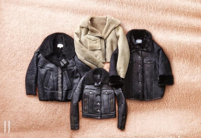 왼쪽부터 시계 방향 | 박시한 무톤 코트는 이로 제품. 3백58만원.주머니와 지퍼 장식의 베이지 무톤 재킷은 올세인츠 제품.1백96만5천원. 밑단을 조일 수 있는 오버사이즈 코트는아크네 스튜디오 제품. 3백91만원. 데님 재킷을 닮은무톤 아우터는 코치 제품. 가격 미정.