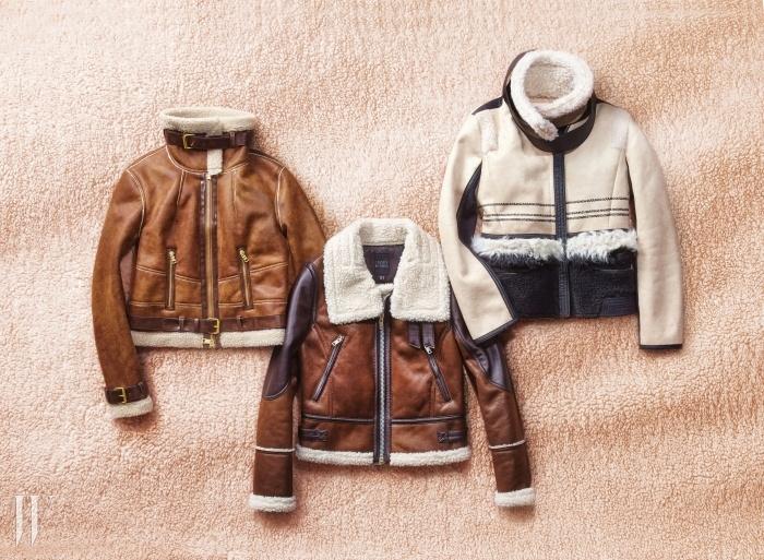 왼쪽부터 | 은은한 브라운 톤의 라이더 재킷은 아르마니 익스체인지 제품. 가격 미정. 톤온톤의 배색이 근사한 라이더 재킷은 카이아크만 제품. 30만원대. 검정 트리밍 장식으로 멋을 낸 재킷은 지컷 제품. 59만9천원.