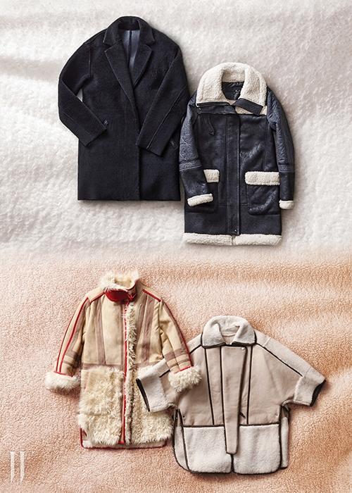 위 | 양털을 겉면으로 사용한 코트는 스프렁 프레르 제품. 9백60만원. 모직과 무톤을 적절히 섞어 디자인한 코트는 지컷 제품. 49만9천원.아래 | 붉은색 라이닝 장식이 돋보이는 코트는 오브제 제품. 4백95만원. 짧은 소매와 트인 밑단 디자인이 특징인 코트는 라우드무트 제품. 3백99만원.