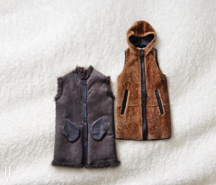 왼쪽 | 주머니가 드러난 위트 있는 디자인의 베스트는 클로즈드 by 비이커 제품. 2백95만원.오른쪽 | 양털의 질감이 살아 있는 후드 장식 베스트는 마르니 by 분더샵 제품. 6백만원대.