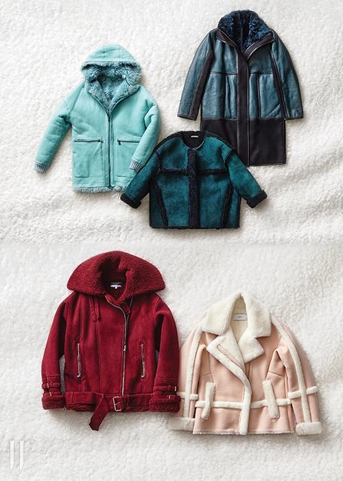 위 왼쪽부터 | 파스텔 톤하늘색이 매력적인 점퍼형태의 무톤 아우터는폴앤조 제품. 4백90만원.가죽 트리밍 장식의청록색 무톤 코트는폴앤조 제품. 3백60만원.스웨이드를 덧대어부드러운 느낌을극대화한 크롭트 코트는하쉬 제품. 3백만원대.아래 왼쪽 | 붉은 색감이시선을 사로잡는 라이터재킷은 까르뱅 by 10꼬르소 꼬모 제품.5백37만원.아래 오른쪽 | 은은한핑크색 코트는듀엘 제품. 69만9천원.