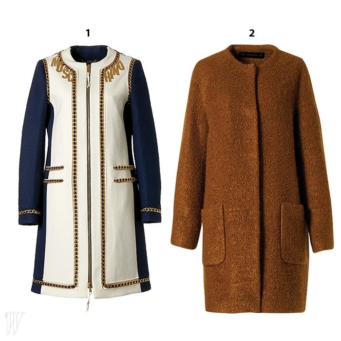 1. 체인과 로고가 장식된 화려한 노칼라코트는 모스키노 제품. 4백54만원.2. 포근한 색감과 간결한 디자인이 돋보이는노칼라 코트는 자라 제품. 22만9천원.